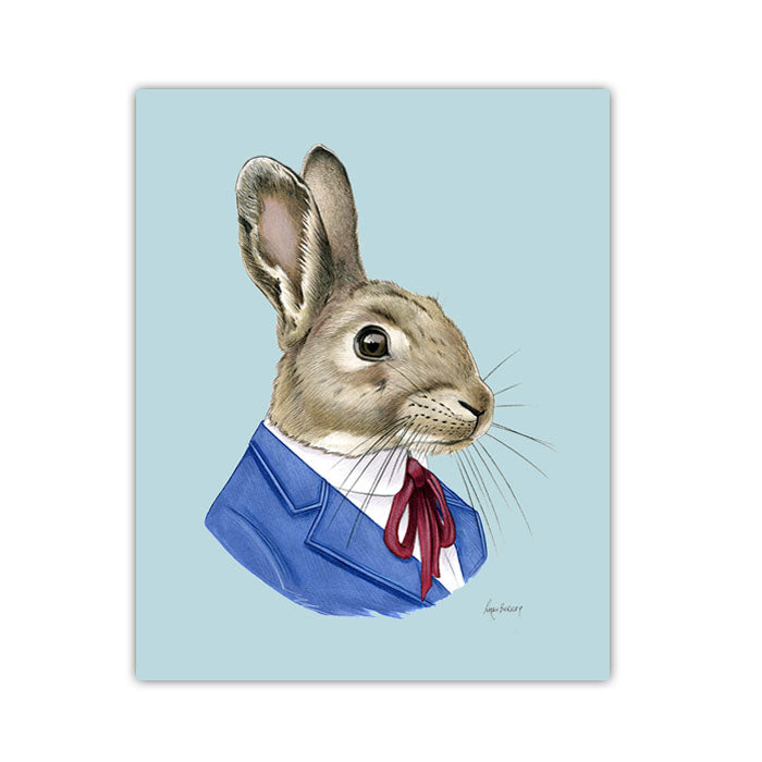 Rabbit Art Print - Brown Rabbit Gentleman