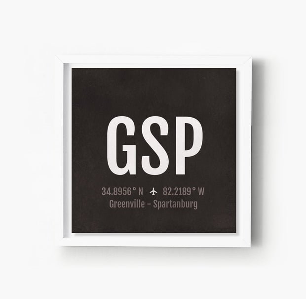 Greenville GSP Airport Code Print