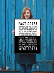 Rap Poster - East West Coast Hiphop Rappers - Subway Poster