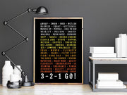 Crossfit Poster - 3-2-1 Go! Fitness Healthy Gift - Subway Poster