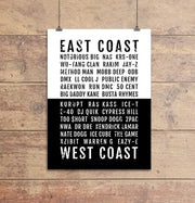 East Coast West Coast Rap Subway Poster