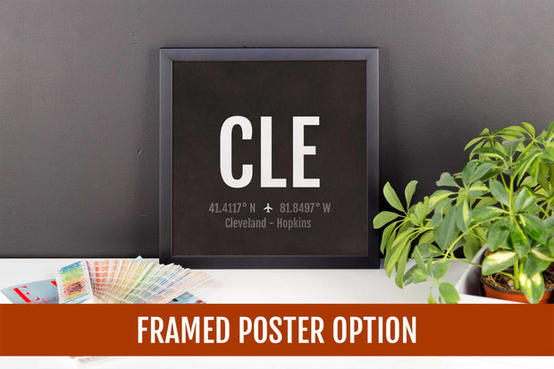 Cleveland Airport Code Print - CLE Aviation Art - Ohio Airplane Nursery Poster