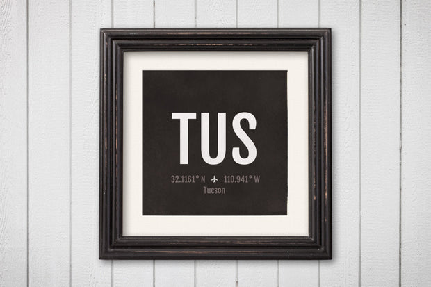 Tucson Airport Code Print - TUS Aviation Art - Arizona Airplane Nursery Poster