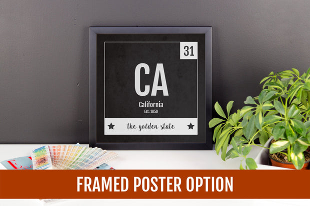 California Print - Periodic Table California Home Wall Art - Vintage California - Black and White - State Art Poster