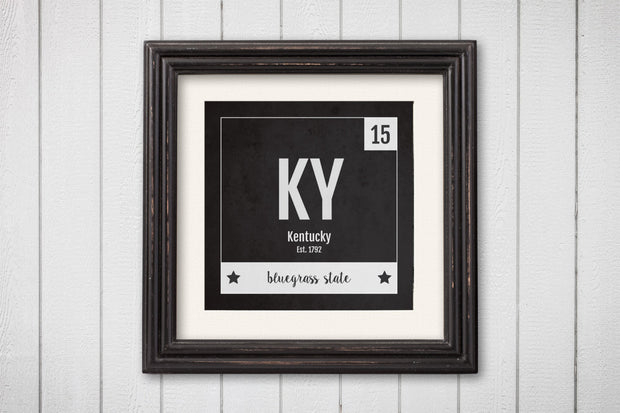 Kentucky Print - Periodic Table Kentucky Home Wall Art - Vintage Kentucky - Black and White - State Art Poster