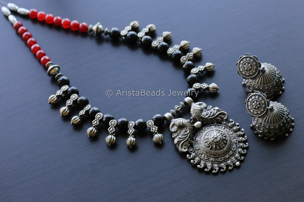 Beaded Oxidized Tribal Necklace