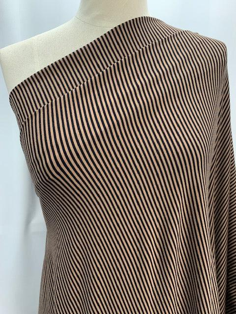 Printed Lycra - Champange and Black Stripe