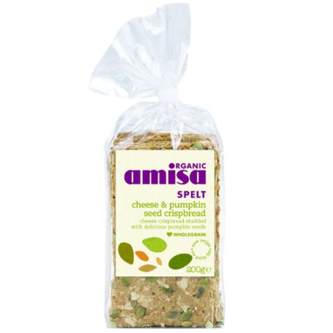 Amisa | Spelt Crispbread - Cheese & Pumpkin | 1 X 200g. This Product Is :- Organic