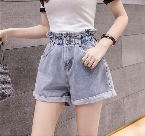 RUFFLED HIGH WAIST DENIM SHORTS