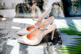 Made in Italy taupe Leather sling back pumps from Portamento