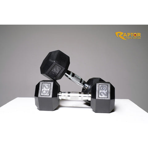 Rubber Hex Dumbbell Set 5 - 50 Lbs