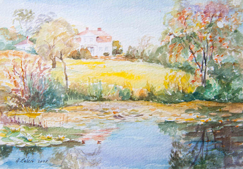 Pond of Water lilies with house - Stretched canvas