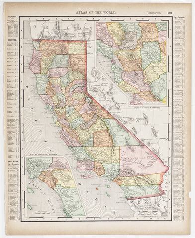 California with insets of Southern & Central Regions (1896)
