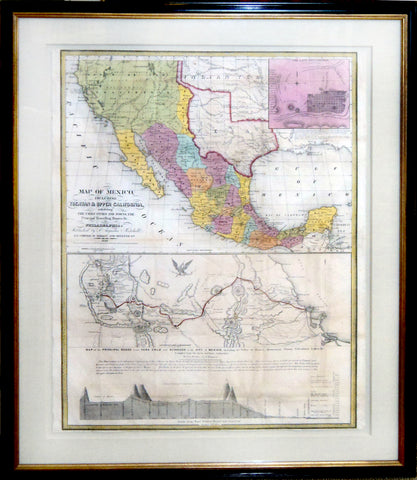 Map of Mexico including Yucatan & Upper California, exhibiting the Chief Cities and Towns, the Principal Travelling Routes &c.