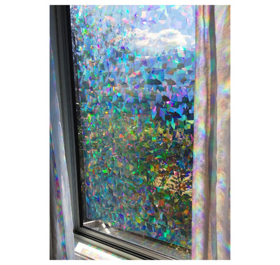 "Decorative Window Film | Holographic Film - 24"" X 36"" Panel - Cracked Ice Pattern"