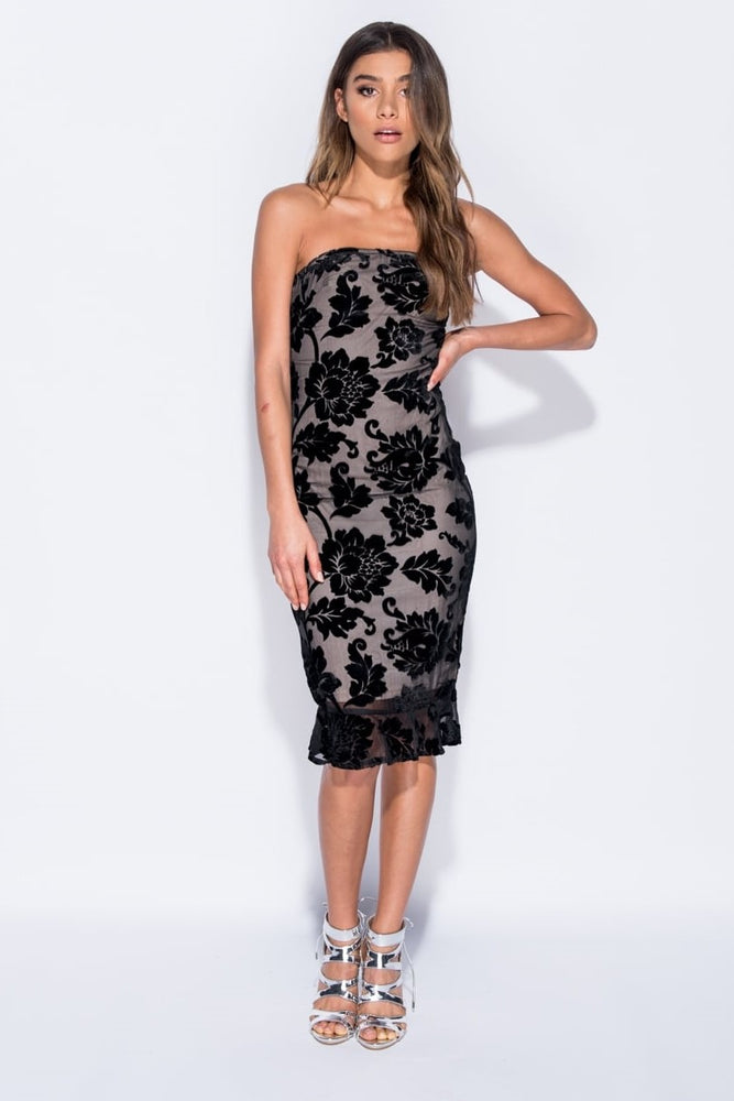 Velvet Floral Midi Dress - Miss Vanilla
