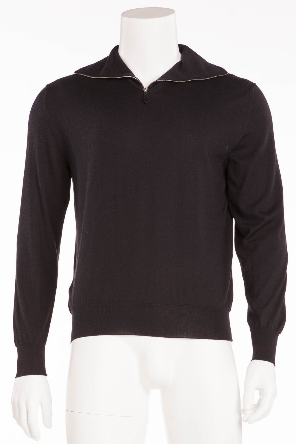Hermes - Black Long Sleeve Zip Neck Cashmere Sweater - XL