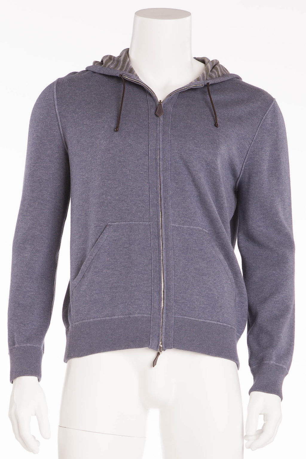 Authentic Hermes - Grey/Blue Zip Up Hoodie - L