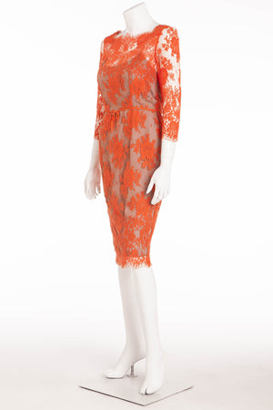 Carolina Herrera - Long Sleee Dress Orange Lace with Nude Underlay - US 4