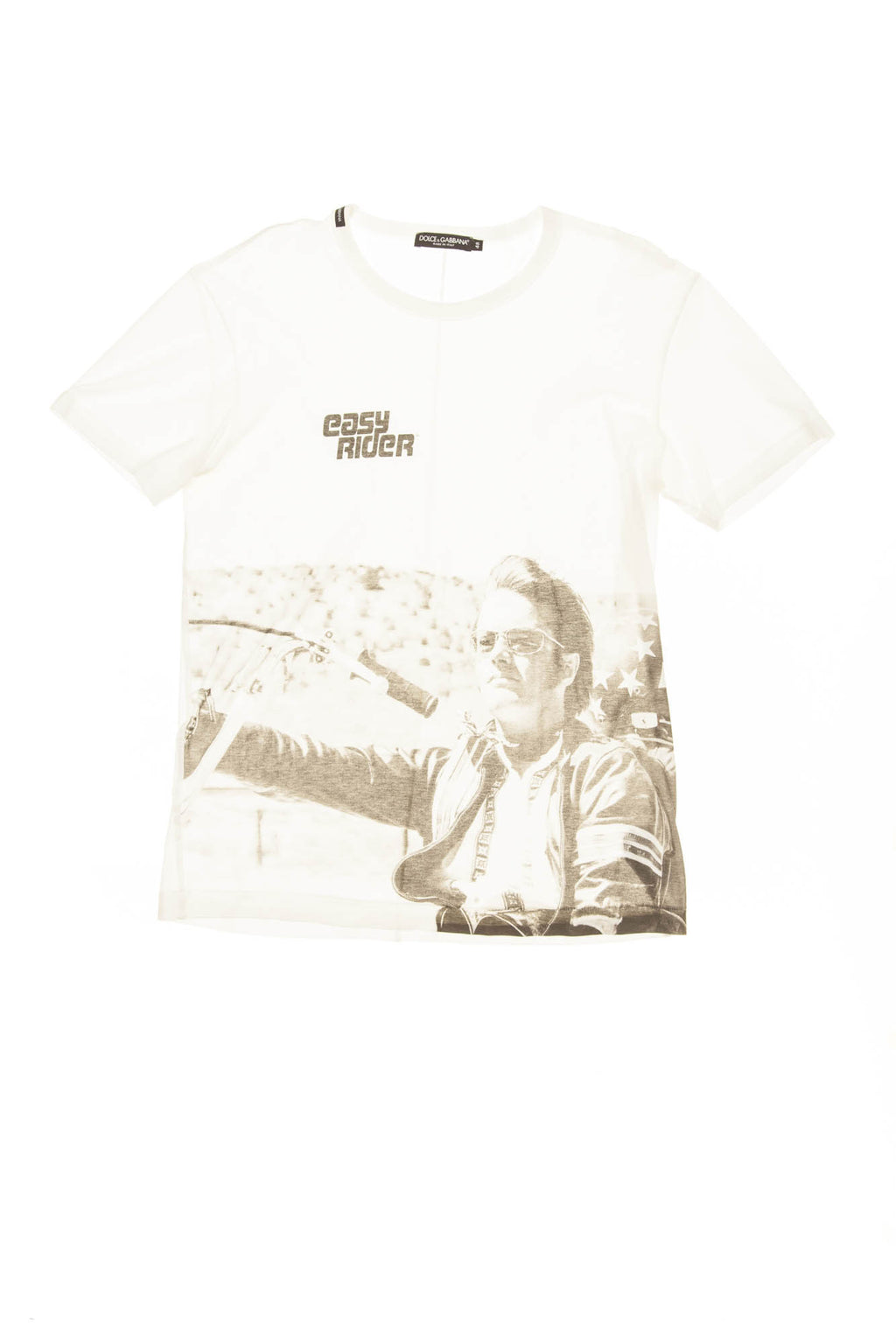 "Dolce & Gabbana - White and Black ""Easy Rider"" Graphic Tee -"