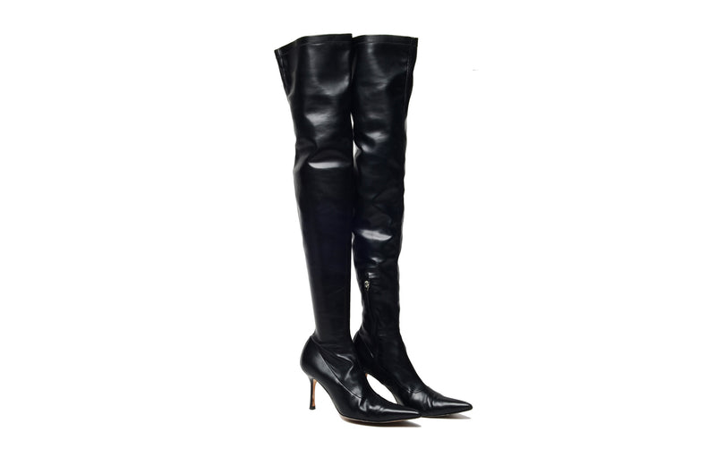 Versace - Black Pointed Toe Over The Knee Boots - IT 38 1/2