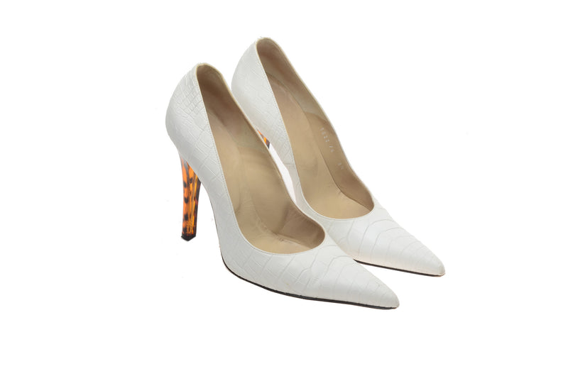 Versace - White Pointed Toe Pump with Clear Multi Color Heel - IT 38 1/2