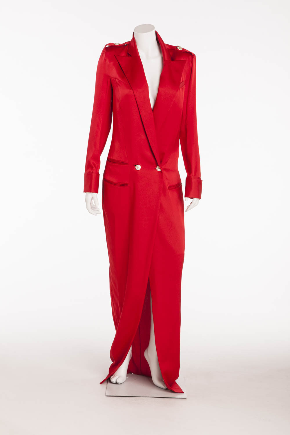Balmain - As Seen on Blake Lively - Brand New Red Long Sleeve Silk Coat Dress - FR 42