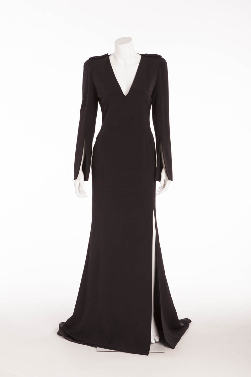 Alexander McQueen - Long Sleeve Long Black Gown with High Slit - IT 42