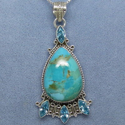 Arizona Sleeping Beauty Turquoise and Blue Topaz Necklace - Sterling Silver - Handmade - T261912