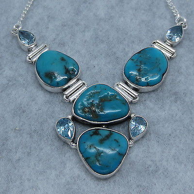 Arizona Turquoise Nugget and Blue Topaz Collar Necklace - Sterling Silver - Handmade - 162617