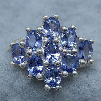 Size 7 Natural Tanzanite Cluster Ring - Sterling Silver - 261581