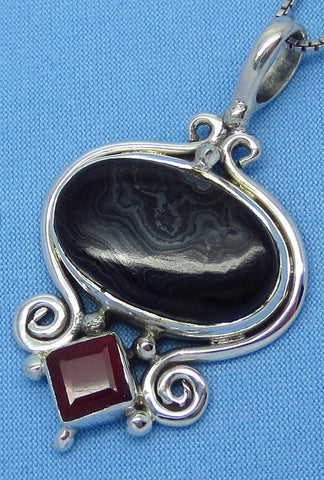 Crown Of Silver Psilomelane Black Malachite & Genuine Ruby Pendant Necklace - Sterling Silver - p161708