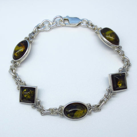"6.5"" Green Baltic Amber Bracelet - Sterling Silver - Handmade in Poland - Mixed Shapes - Filigree - Victorian Design - 961783"