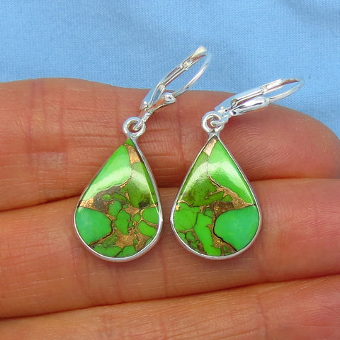 Arizona Mojave Green Copper Turquoise Earrings - Leverback - Sterling Silver - Pear Shape - su171338