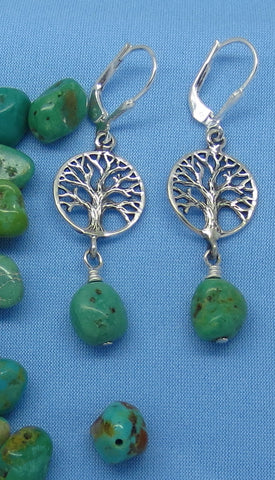 Nevada Turquoise Tree of Life Earrings - Sterling Silver - Leverback - Royston Mine - Nuggets - P606
