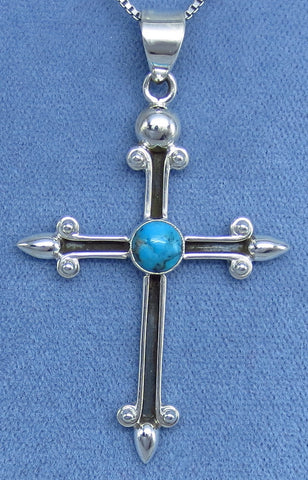 Genuine Arizona Turquoise Cross Necklace - Sterling Silver - Antique Design - Hand Made - C141709