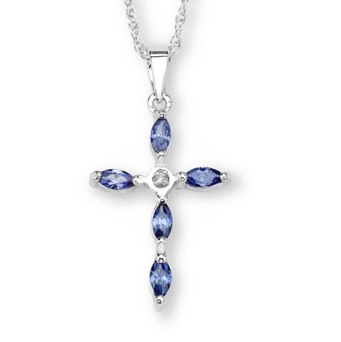 Silver Elegance Oval Blue CZ's Cross Pendant Necklace - Sterling Silver - Handmade - - SESP816