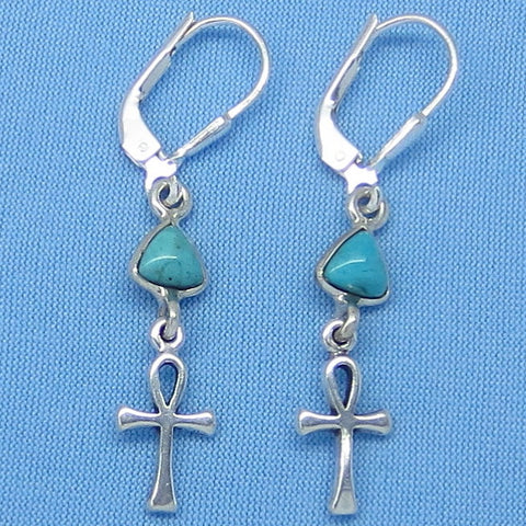 Teeny Tiny Genuine Arizona Turquoise Ankh Earrings - Leverback - Sterling Silver - Egypt - Travel - Pyramid - Cross - 160813