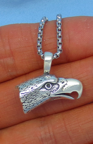Sterling Silver Seahawk Eagle on Stainless Steel Necklace - 3-D - Men's - p171173