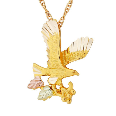 Mt. Rushmore Black Hills Gold Harvest Eagle Necklace - 10K and 12K Solid Gold - Made To Order - G 2249