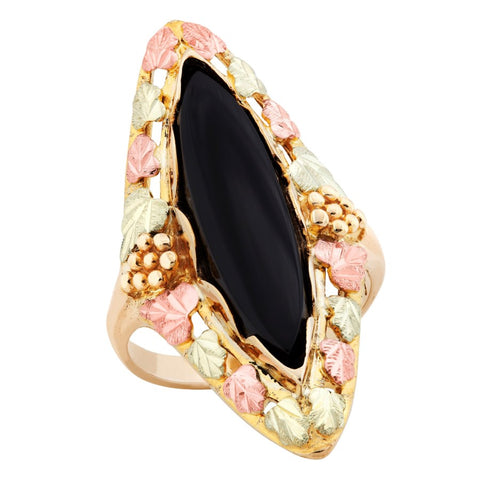 Sizes 2 - 10-1/2 Landstrom's Black Hills Gold Leafy Border Onyx Ring - 10K and 12K Solid Gold - Made to Order -  G LC271