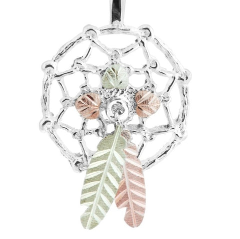 Black Hills Gold on Silver  Dreamcatcher Pendant Necklace - 12K Rose Pink and Green Gold Accents - Handmade - MRC25686-GS