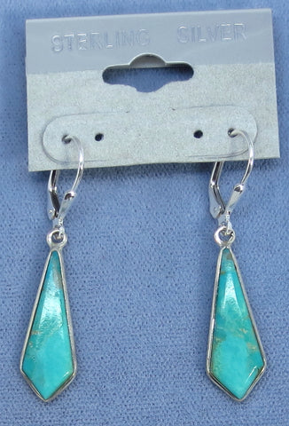 Arizona Turquoise Leverback Earrings - Sterling Silver - 161702