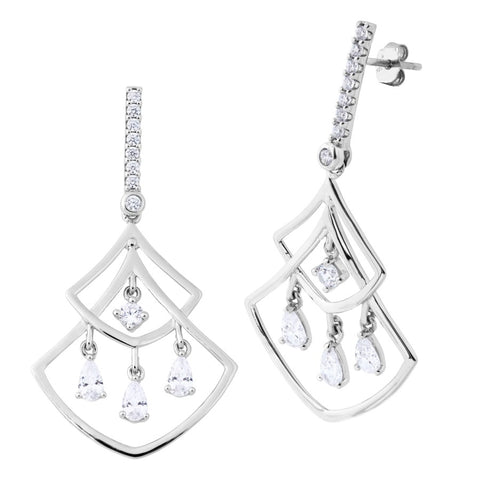 Silver Elegance CZ Chandelier Earrings - Sterling Silver - Made to Order - SESE1012