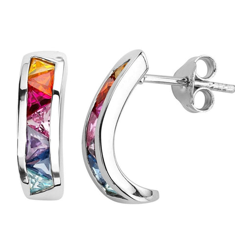 Silver Elegance Multi-colored CZ's Curved Post Earrings - Sterling Silver - Handmade - - SESE602