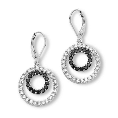 Silver Elegance Black and White CZ Circle Duo Earrings - Sterling Silver - Made to Order -  SESE619