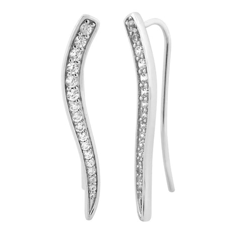 Silver Elegance White CZ Threader Earrings - Sterling Silver - Made to Order -  SESE662WCZ