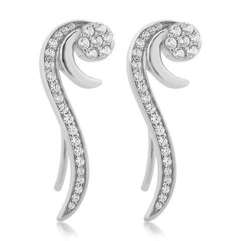 Silver Elegance White CZ Sparkle Threader Earrings - Sterling Silver - Made to Order -  SESE663