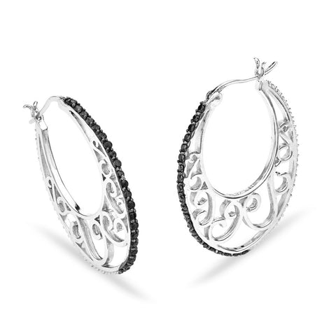 Silver Elegance Black CZ Filigree Hoops - Sterling Silver - Made to Order -  SESE916