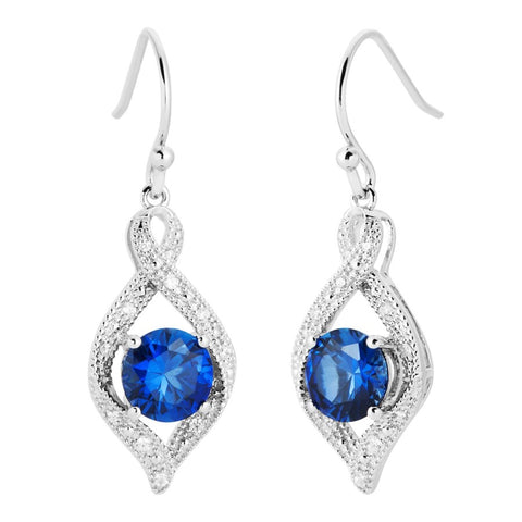 Silver Elegance Blue and White CZ Twist Marquise Earrings - Sterling Silver - Made to Order - SESE954